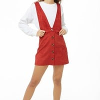 Button-Front Faux Suede Pinafore Dress