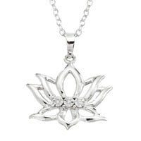 """Sterling Silver Diamond-Accent Lotus Flower Pendant Necklace, 18"""""""