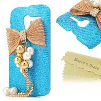Mavis's Diary for Motorala Moto X Phone 3D Handmade Fashion Bling Gold Metal Design Crystal Pendant Bow Diamond Rhinestone Bling Hard Cover Case with Soft Clean Cloth - Blue