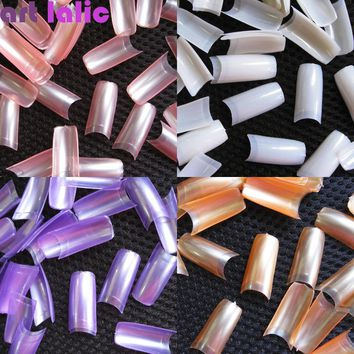 NEW 500 PCS French Style Nail Tips Pearl Pearly Color False Acrylic Nails UV Gel Nail Art Tips Tools