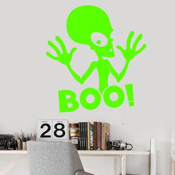 Vinyl Wall Decal Cartoon Funny Alien UFO Boo Space Stickers (2762ig)