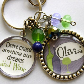 "Friend gift, Personalized ""Don't chase anything but Dreams and Wine"" purple and lime green Mother Nana Gram Sister Cousin Aunt Wine Diva bff"
