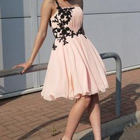 Floaty Short Nude Prom dress with black lace from Ruby Prom and Party
