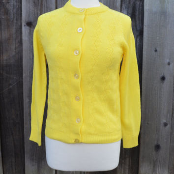 Vintage Sweater Cardigan, Lemon Yellow Acrylic Sweater, Size Small, Button Down, circa 1960s