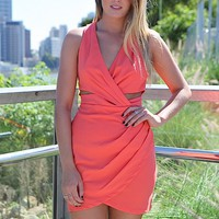 Coral Cutout Crossover Dress with Pleat Detail & Racerback