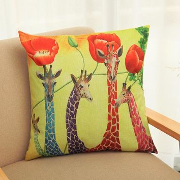 Giraffe Linen Throw Pillow Case