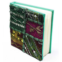 Handmade paper Diary/Journal with Green applique work cover best use- writing, travel & Christmas gift