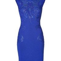 Roberto Cavalli - Wool Blend Intarsia Knit Dress in Cobalt