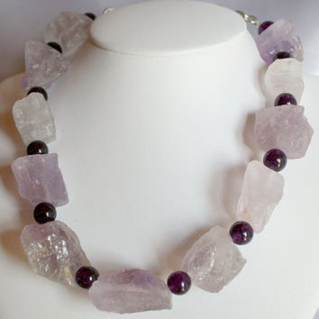 Raw Chunky Amethyst Quartz Statement Necklace, Dramatic Big Bold Natural Rough Pink Necklace, Baroque Raw Purple Gemstone Statement Necklace