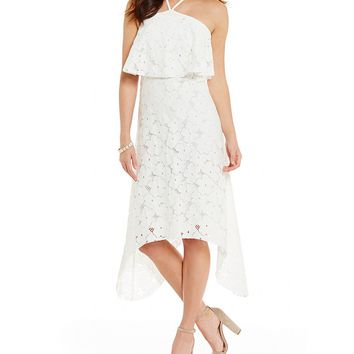 Trina Turk Oasis Popover Halter Lace Dress | Dillards