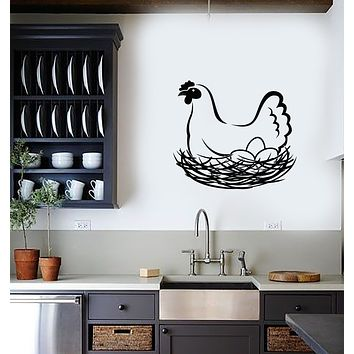 Vinyl Wall Decal Hen Chicken Eggs Nest Farm Animal Bird Stickers (3708ig)