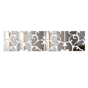 3D Mirrored Acrylic Wall Decals, 4 Squares, Available in 3 Colors