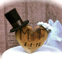 Rustic wedding cake topper country wooden heart