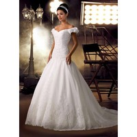 Vintage A-line Off-The-Shoulder Beaded Applique Satin Wedding Gown
