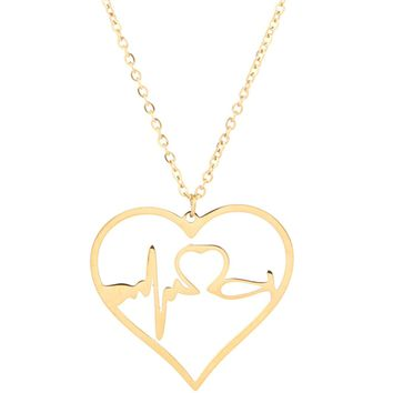SXNK7 Stainless Steel Nurse Doctor Gifts Stethoscope EKG Heartbeat Necklace Gold Rose Gold and Silver Jewelry