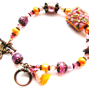 CRAZY SALE, Floral Lampwork Bracelet, Artisan Sculptured Glass Flower Bead, Pink, Orange, Antiqued Copper Woodland Bracelet, Gift