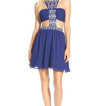 Junior Women's Steppin Out Embellished Cutout Skater Dress,