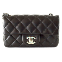 CHANEL bag black mini lambskin silver hardware NWT