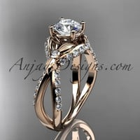 "Unique 14kt rose gold diamond flower, leaf and vine wedding ring, engagement ring with a ""Forever One"" Moissanite center stone ADLR218"