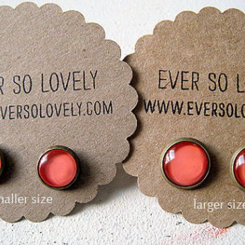fall fashion - coral pink round stud earrings - summer wedding - pink bridesmaids