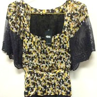 Naked Zebra Black and Gold Blouse with Wide Black Lace Sleeves and Trim