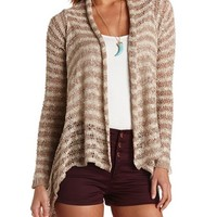 SLUB STRIPED CASCADE CARDIGAN SWEATER