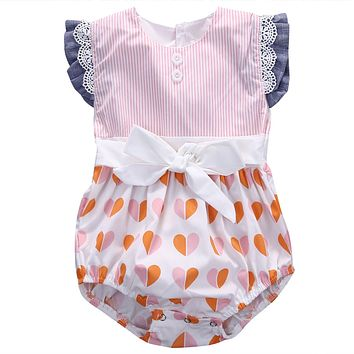 Cotton Bow Cute Pink Rompers Infant Baby Girl Clothes Lace Floral Ruffles Baby Girl Romper Cake Sunsuit Outfits