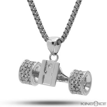 The White Gold Skateboard Truck CZ Necklace