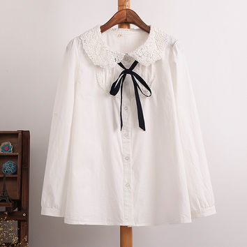 Female Preppy Style Sweet Cute peter pan collar Blouse Cotton casual shirt Lace collar bow full sleeve shirts solid color tops