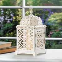 White Moroccan Style Aura Candle Lantern