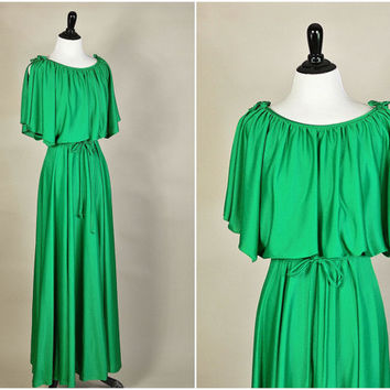Cara dress // 70s emerald green ultra draped grecian goddess maxi dress // caped sleeves // size XS