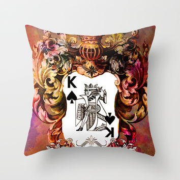 Poker King Spades colored Throw Pillow by Jbjart | Society6