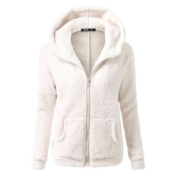 Women Winter Fashion Warm Thicken Fleece Jacket Hooded Parka Sweatshirt Coat Female Zipper Pocket Jacket Outerwear