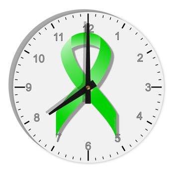 "Lyme Disease Awareness Ribbon - Lime Green 8"" Round Wall Clock with Numbers"