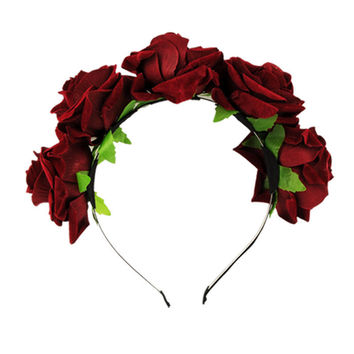 5Colors H made Bride Floral Flower Crown Rose Headb  Hair Garl  Festival Wedding Hair Accessories Hairb s SM6