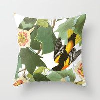 Icterus icterus Nature Throw Pillow by Maioriz Home