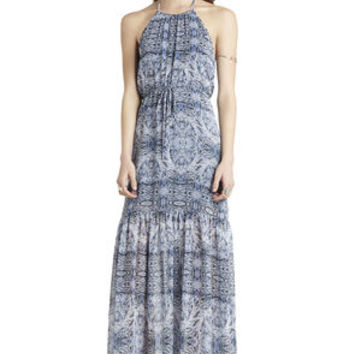 Neckline Flounce Maxi Dress in Black/Blue/Tan - BCBGeneration