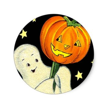 Happy Halloween Vintage Ghost and Pumpkin Sticker