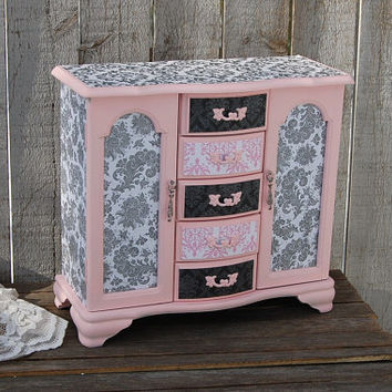 Jewelry Box, Jewelry Armoire, Shabby Chic, Pink, Grey, Damask, French, Large, Decoupage