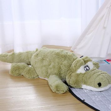 Kawaii Big Anti-stress Plush Toy Green Crocodile Soft Sleep Pillow Baby Crib Foldable Cushion Stuffed Baby Appease Toy