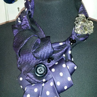 Purple scarf, necklace, cravat, mother of the bride, wedding, bespoke, steam punk,  handmade ladies gift, birthday present, made in UK