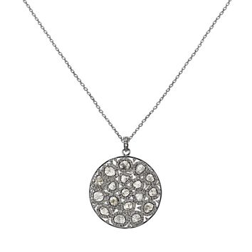 4.49tcw Sliced & Pavé Diamonds in 925 Sterling Silver Round Pendant Necklace