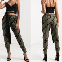 Champion New fashion print sports loose casual pants Army green