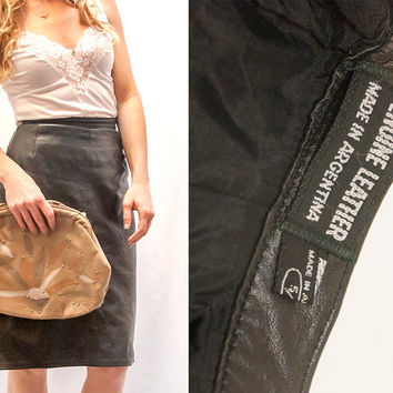 80s High Waisted Black Leather Skirt | Womens Leather Pencil Skirt Size 4 2 Small XS | Genuine leather 80s Biker Boho Wiggle Skirt 90s Sexy!