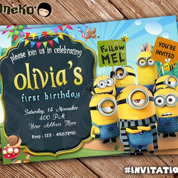 SALE 50% OFF Despicable Me / Minions Birthday Invitation Card Design - Printable - Invitation for Kids / for Boys / for Girls - Celebration