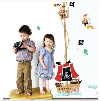 cartoon Pirate Ship baby children height measure wall stickers for kids room decoration sticker funny nursery decal mural art