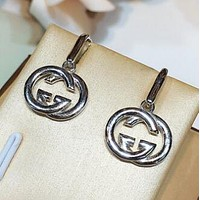 GUCCI 925 Silver Popular Women Chic GG Pendant Earrings Accessories Jewelry