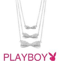 Amazon.com: Licensed Playboy Three Bow Silver Charm Necklace Sexy Fashion Authentic Jewelry: Jewelry