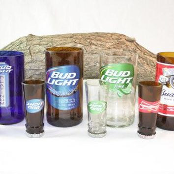 Unique Gift Set Upcycled from Budweiser Beer Bottles, Shot Glass, Drinking Glass