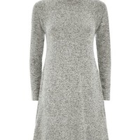 Grey High Neck Long Sleeve Swing Dress
